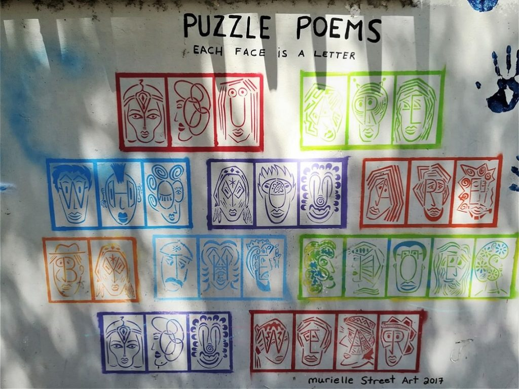 Murielle Street Art mural Puzzle Peoms